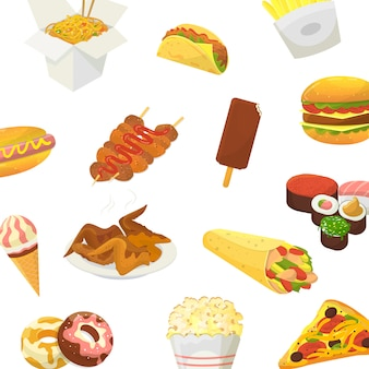 Fast food. hamburger, pizza, pollo arrosto e pop corn con sushi e gelato isolato