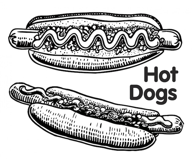 Fast food. hot dog disegnato a mano, con würstel