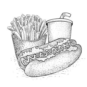Fast food in mano disegnata
