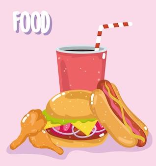 Fast food menu ristorante hamburger malsano hot dog pollo e soda illustrazione