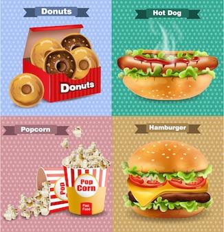 Fast food set con hamburger
