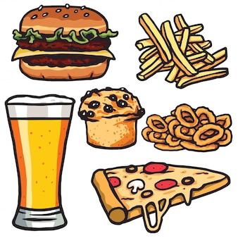 Fast food, set di prodotti alimentari spazzatura