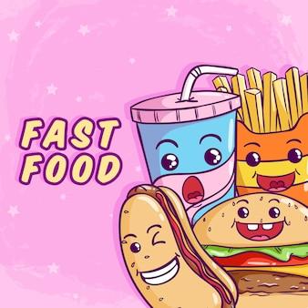 Fast food sveglio con l'hot dog dell'hamburger e la tazza di soda usando stile colorato di scarabocchio sul rosa
