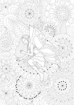 Fata disegnata a mano su fiori
