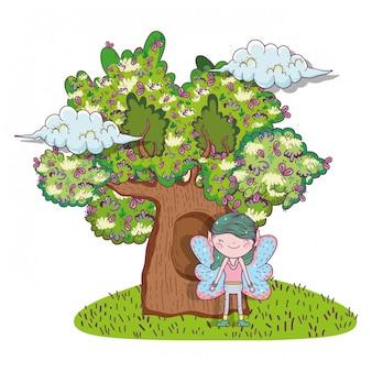 Fata fantastica creatura con case sugli alberi