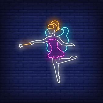 Fata in abito viola in stile neon