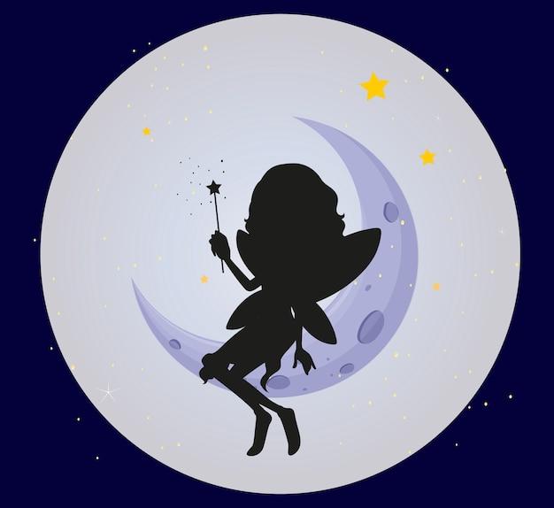 Fata silhouette sulla luna