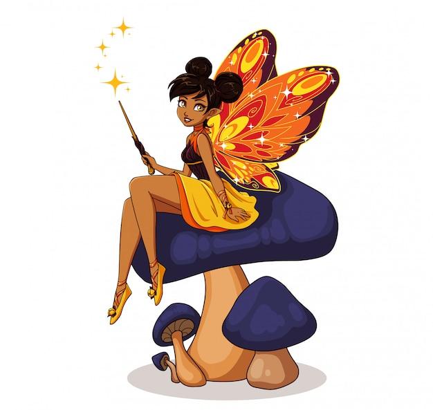 Fata simpatico cartone animato con ali di farfalla seduto sul fiore. ragazza con i panini marroni che portano vestito giallo. illustrazione disegnata a mano