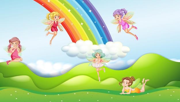 Fate con scena arcobaleno