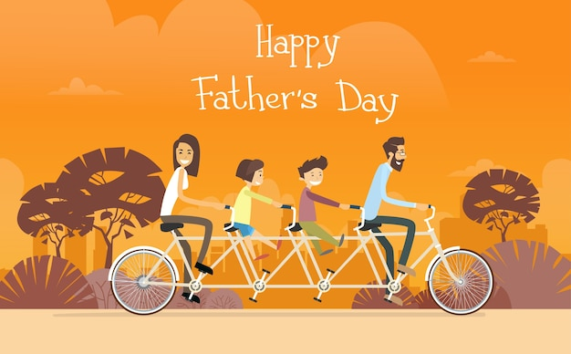 Father day holiday, family ride tandem bicycle