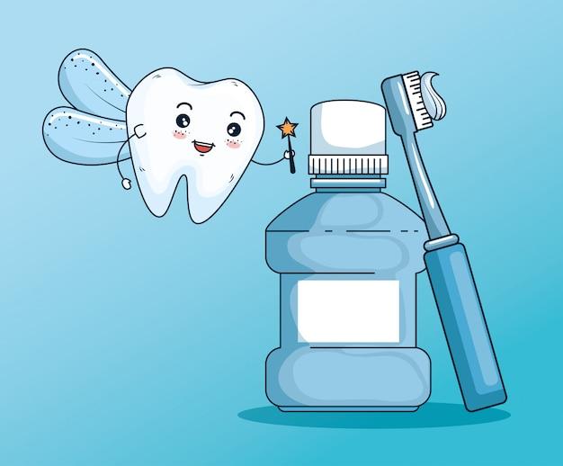Fatina dei denti con collutorio e strumento spazzolino da denti