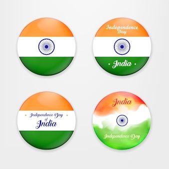 Fatto in india. collezione di badges. illustrazione di set di bandiere e badge per l'india colorata. sfondo di concetto di indipendenza indiana con la ruota di ashoka. illustrazione vettoriale.