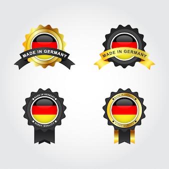 Fatto nel disegno del modello dell'illustrazione delle etichette del distintivo dell'emblema della germania