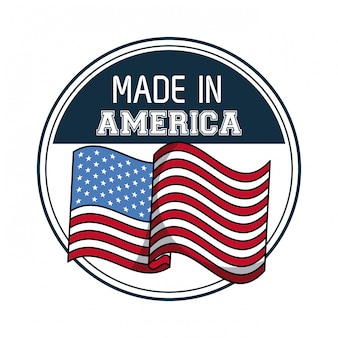 Fatto nell'emblema rotondo di usa con progettazione grafica dell'illustrazione di vettore della bandiera
