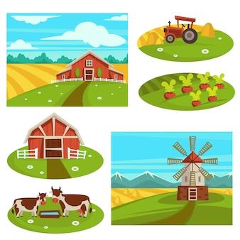 Fattoria agricola o agricoltore agricolo vettore piatto campo di agricoltura e pascolo del bestiame