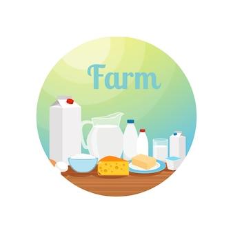 Fattoria con cerchio di cibo al latte