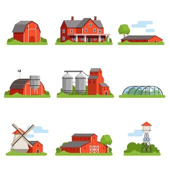 Fattoria e costruzioni insieme, industria agricola e illustrazioni di edifici di campagna