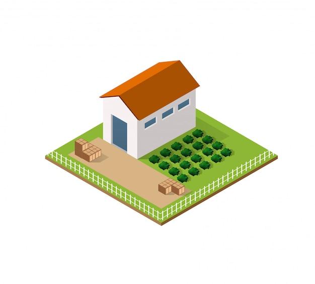 Fattoria rurale in isometrica