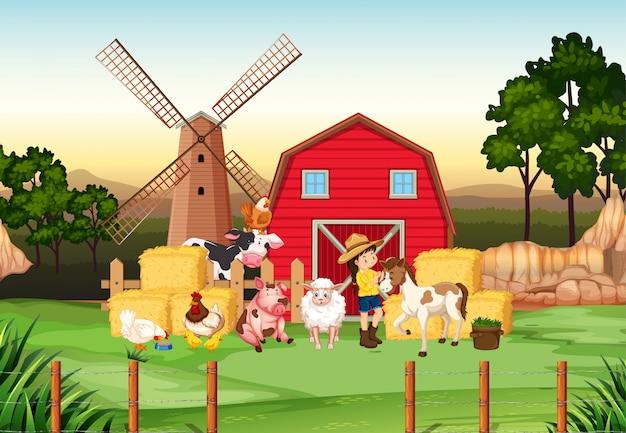 Fattoria scena con contadino e molti animali nella fattoria