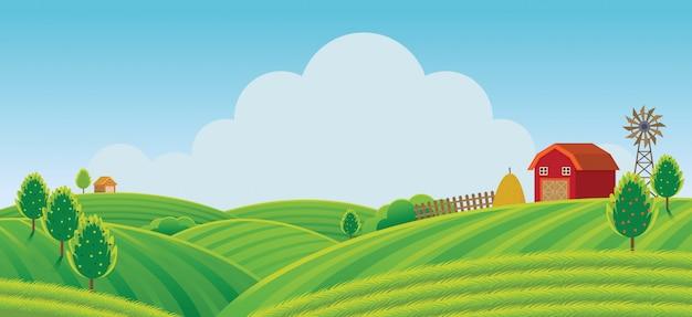 Fattoria sulla collina con sfondo di campo verde, agricoltura, coltivazione, campagna, campo, rurale
