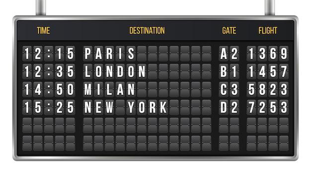 Fattura quadro di controllo, alfabeto di bordo aeroporto di arrivo