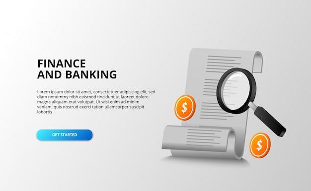 Fatture per il concetto di contabilità bancaria di finanza con ricerca della lente d'ingrandimento che segue con il dollaro della moneta dorata 3d.