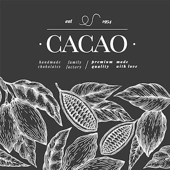 Fave di cacao al cioccolato sullo sfondo
