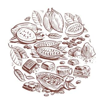 Fave di cacao disegnate a mano, design al cioccolato. doodle di cacao