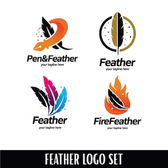 Feather logo set