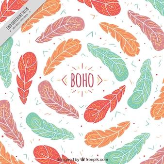 Feather sfondo disegnati a mano in stile boho