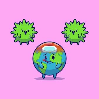 Febbre del mondo di corona virus icon illustration. personaggio dei cartoni animati di corona mascotte. concetto dell'icona del mondo isolato