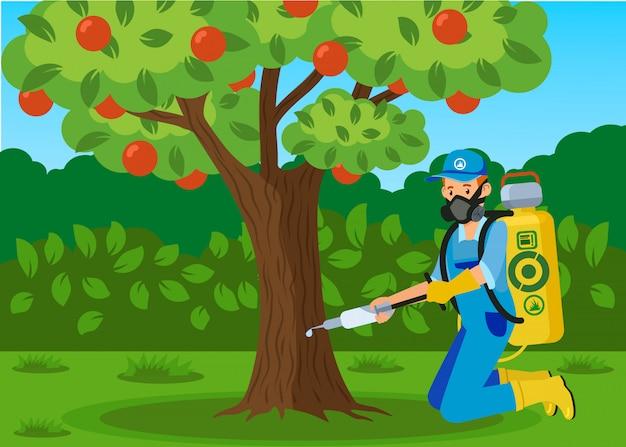 Fecondazione dell'albero, illustrazione piana dell'iniezione