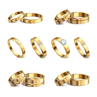 Fedi nuziali dell'oro 6 insiemi isolati realistici del metallo nobile con i gioielli dei diamanti contro l'illustrazione bianca del fondo