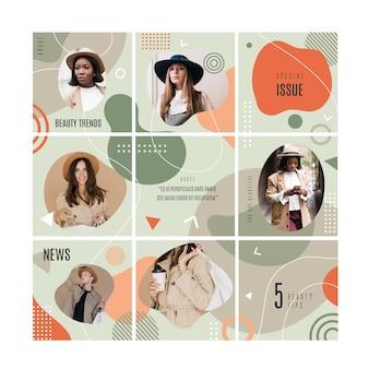 Feed di puzzle di instagram con raccolta di modelli