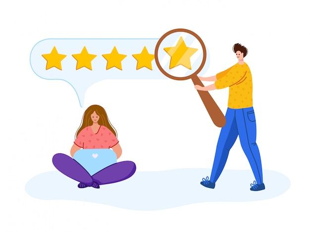 Feedback dei clienti - persone con laptop, lente d'ingrandimento alla ricerca di feedback, concetto di recensione dei clienti