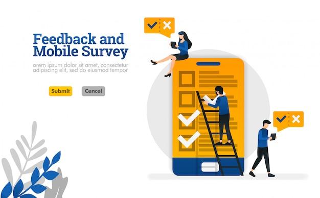 Feedback e sondaggio sui dispositivi mobili. per il sondaggio ha bisogno di illustrazione vettoriale per la pagina di destinazione