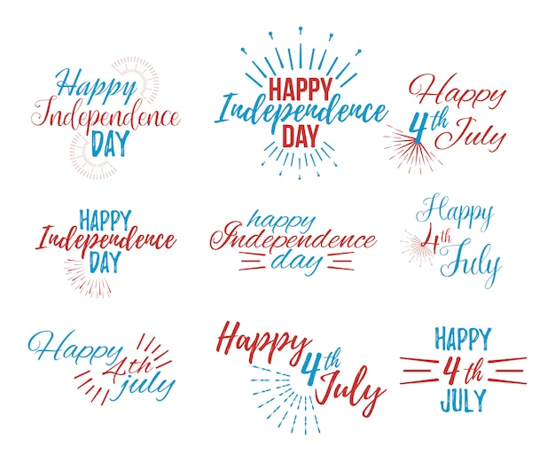 Felice 4 luglio e lettering independence day