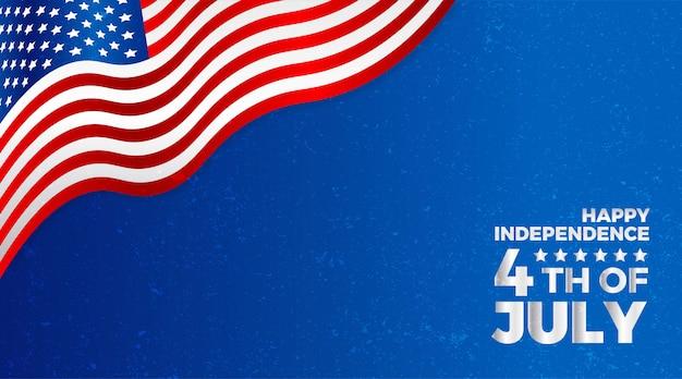 Felice 4 luglio festa dell'indipendenza sventolando la bandiera nazionale americana