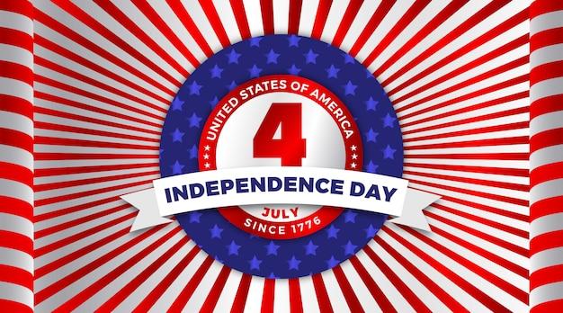 Felice 4 luglio usa festa dell'indipendenza auguri con sventolando bandiera nazionale americana e distintivo design.