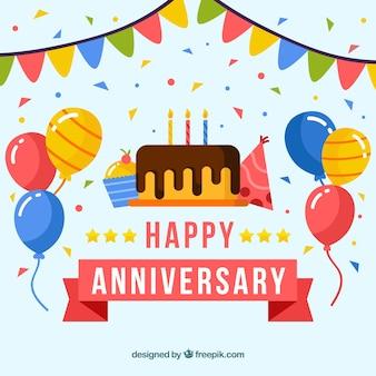 Felice anniversario sfondo con torta e palloncini