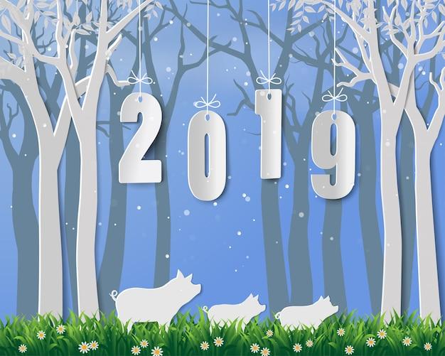 Felice anno nuovo 2019, anno di maiale su disegno di arte di carta