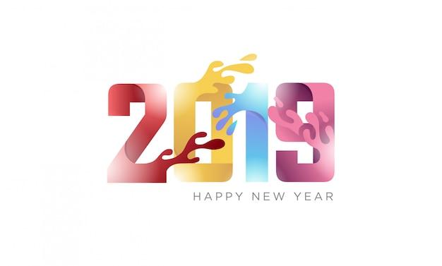 Felice anno nuovo 2019 banner creativo con carta piegata concetto con effetto fluido
