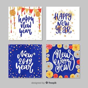 Felice anno nuovo 2019 collezione di carte
