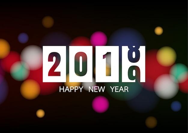 Felice anno nuovo 2019 con luci bokeh bianche