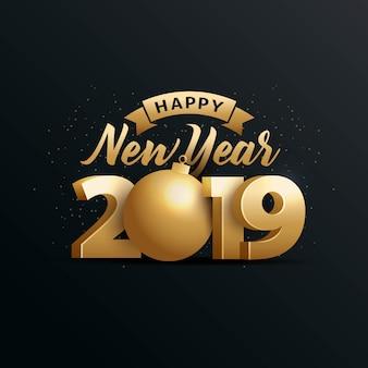Felice anno nuovo 2019 con numero 3d oro