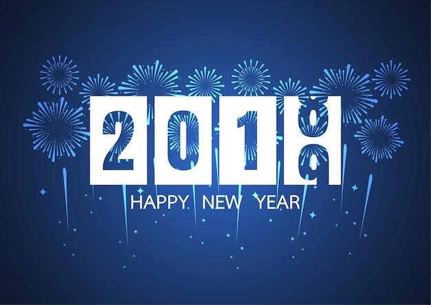 Felice anno nuovo 2019. fuochi d'artificio su sfondo scuro