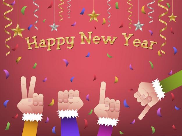 Felice anno nuovo 2019 mani sagomate