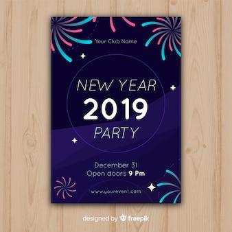 Felice anno nuovo 2019 poster con fuochi d'artificio