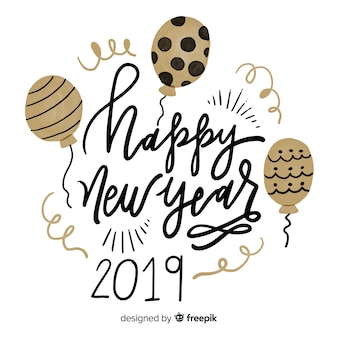 Felice anno nuovo 2019 sfondo nero e oro con scritte di fantasia