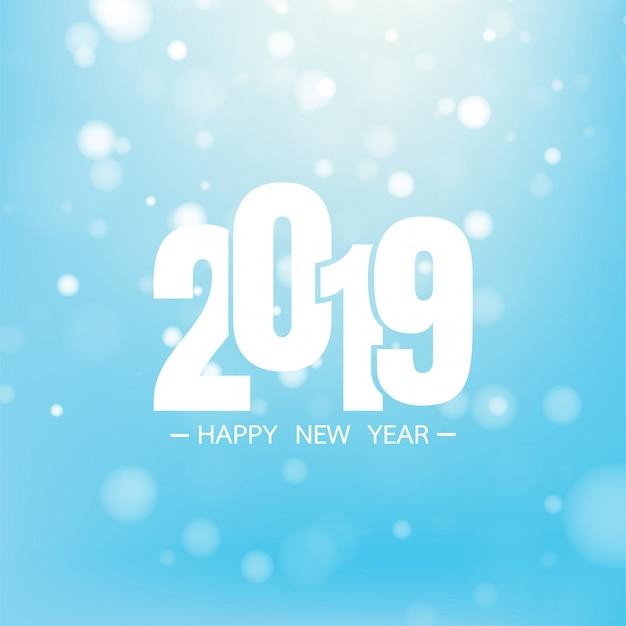 Felice anno nuovo 2019 su sfondo blu per la celebrazione